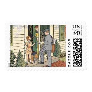 Retro Vintage Mailman Illustration Postage Stamps