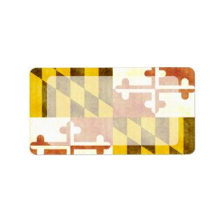 Retro Vintage Maryland Flag Custom Address Label