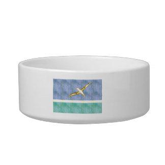 Retro Vintage Midway Islands Flag Cat Water Bowl