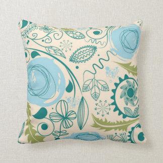 Retro Vintage Mod Doodle Floral Throw Pillow