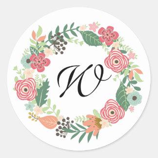 Retro vintage monogram Floral wreath stickers