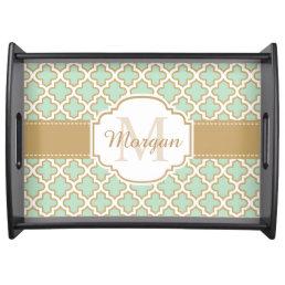 Retro Vintage Moroccan Pattern Mint Green Monogram Serving Tray