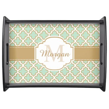 Coffee Themed Retro Vintage Moroccan Pattern Mint Green Monogram Serving Tray
