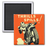 Retro Vintage Motorcycles Races Thrills Spills 2 Inch Square Magnet