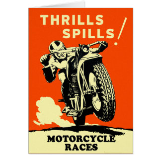 Retro Vintage Motorcycles Races Thrills Spills Card