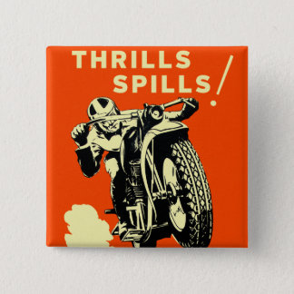 Retro Vintage Motorcycles Races Thrills Spills Pinback Button