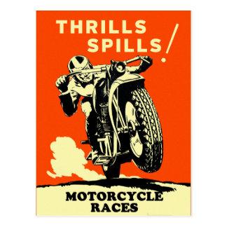 Retro Vintage Motorcycles Races Thrills Spills Postcard