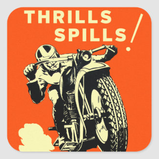 Retro Vintage Motorcycles Races Thrills Spills Square Sticker