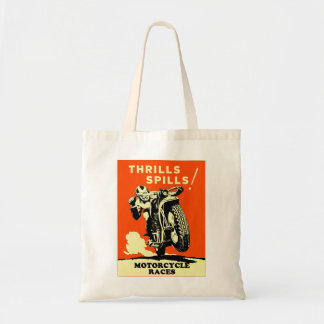 Retro Vintage Motorcycles Races Thrills Spills Tote Bag