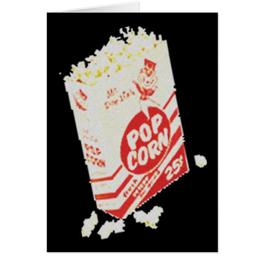 Retro Vintage Movie Theater Popcorn Card