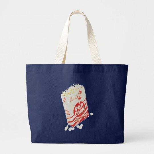 Retro Vintage Movie Theater Popcorn Large Tote Bag