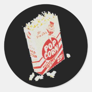 Retro Vintage Movie Theater Popcorn Round Stickers
