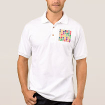 Retro vintage multi color hearts  pattern girly polo shirt