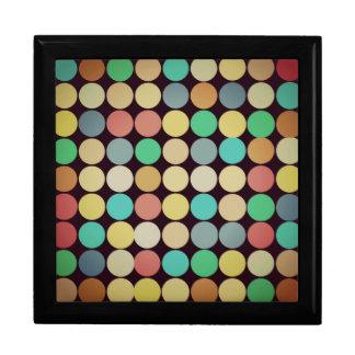 Retro Vintage Multicolored Circles Pattern Trinket Box