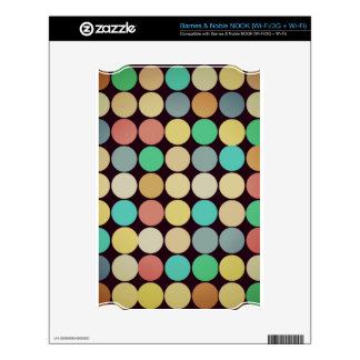Retro Vintage Multicolored Circles Pattern Skins For The NOOK