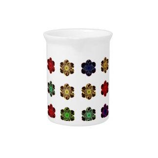 Retro Vintage Multicolored Flowers Design Pitchers