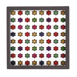 Retro Vintage Multicolored Flowers Design Premium Trinket Boxes