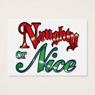 Retro Vintage Naughty or Nice Christmas Holiday Business Card