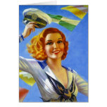 Retro Vintage Navy Sailor Pin-up Blank Note Card
