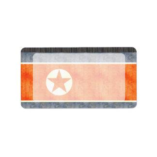 Retro Vintage North Korea Flag Label