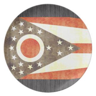 Retro Vintage Ohio Flag Plate