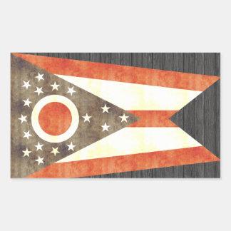 Retro Vintage Ohio Flag Rectangular Stickers