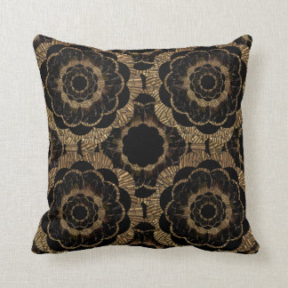 Retro Vintage Old Gold Mandala Pillow
