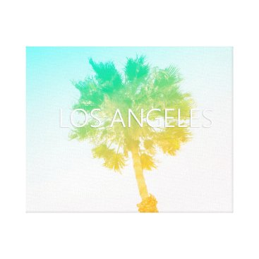 Beach Themed Retro Vintage Ombre Los Angeles, California Canvas Print
