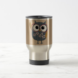 Retro Vintage Owl 15 Oz Stainless Steel Travel Mug