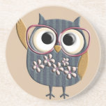 """Retro Vintage Owl Coaster<br><div class=""""desc"""">Very cute retro owl design that you can customize yourself to make it even more special (adding a name or saying,  etc.).</div>"""