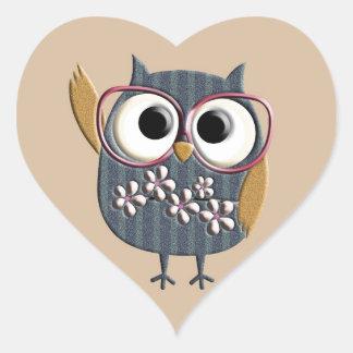 Retro Vintage Owl Heart Sticker
