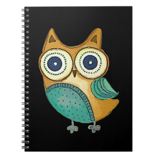 Retro Vintage Owl Spiral Note Books