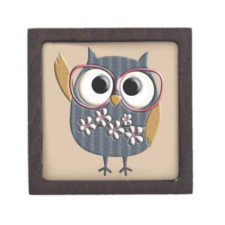 Retro Vintage Owl Premium Keepsake Box