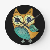 Retro Vintage Owl Round Clock