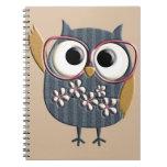 Retro Vintage Owl Spiral Note Book
