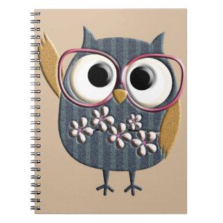 Retro Vintage Owl Spiral Notebook