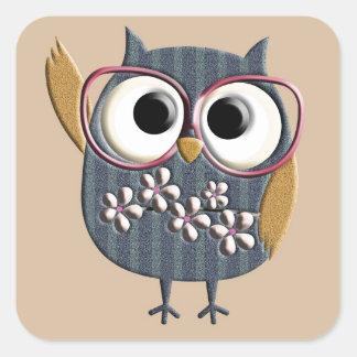 Retro Vintage Owl Square Sticker