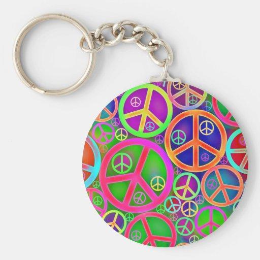 Retro Vintage Peace Heart Basic Round Button Keychain