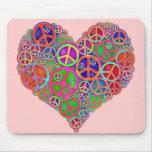 Retro Vintage Peace Heart Mousepads