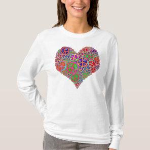 Retro Vintage Peace Heart T-Shirt