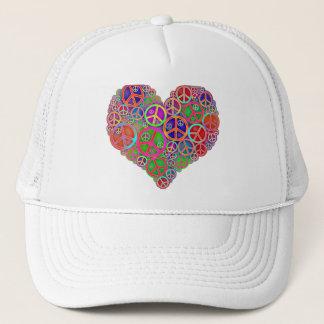 Retro Vintage Peace Heart Trucker Hat