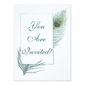Retro Vintage Peacock Feather 6.5x8.75 Paper Invitation Card