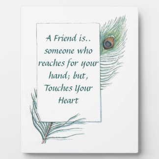 Retro Vintage Peacock Feather Friendship Plaque
