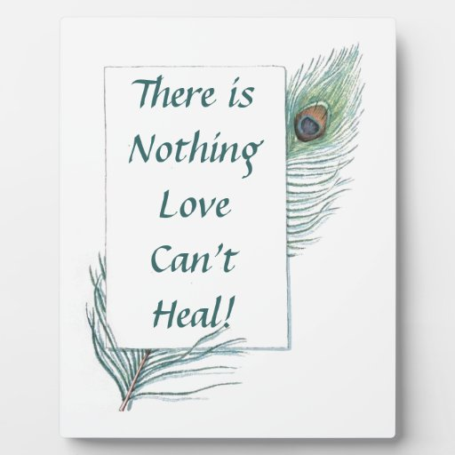 Retro Vintage Peacock Feather Love Quote Plaque