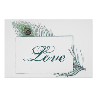 Retro Vintage Peacock Feather Love Quote Poster
