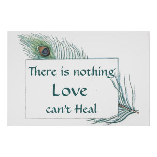 Retro Vintage Peacock Feather Love Quote Posters