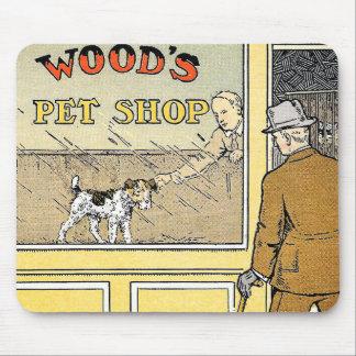Retro Vintage Pet Shop Book Illustration Mousepad