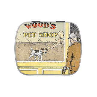 Retro Vintage Pet Shop Book Illustration Tin Jelly Belly Tins