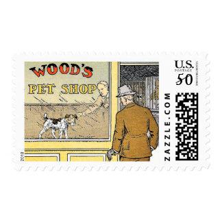 Retro Vintage Pet Shop Illustration Postage Stamps