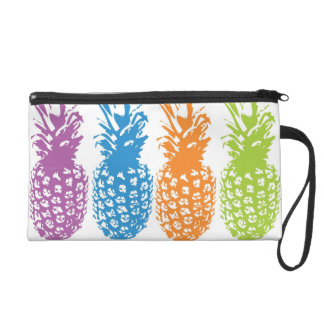 Retro Vintage Pineapple Hawaii Pineapples Wristlet Clutch